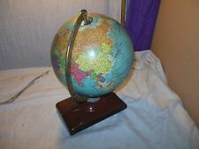 "VINTAGE ANTIQUE 1950's REPLOGLE 10"" WORLD GLOBE W/METAL STAND MAP BOOK HOLDER"