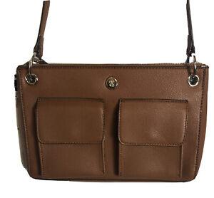 Chaps Women's Brown Faux Leather Shoulder Bag NWT
