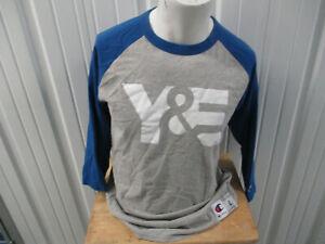 VINTAGE CHAMPION X Y & E AD BASEBALL LARGE  GREY BLUE PROMO 3/4 SHIRT 2000s