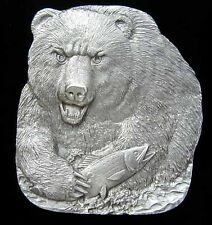 GRIZZLY BEAR BELT BUCKLE WITH FISH NEW!