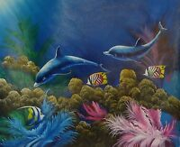 Blue Sea Paradise of a Marine Life Oil Painting on Canvas 24 x 20 In.Hand Signed