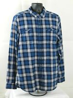 I Jeans By Buffalo Button Up Mens Size XL Blue Long Sleeve Plaid Flannel Shirt