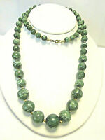 vintage Malachite imitation Necklace graduated beads