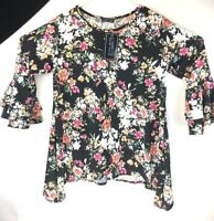 Love Mood Womens Casual Top Black Floral Small