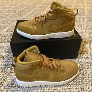 Nike Air Jordan 1 Mid Toddler Shoes Golden Harvest/Sail 640734-725 Size 13.5C T3