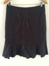 Next Linen Skirt Size 12 Petite In Charcoal Fluted Hem <R5880