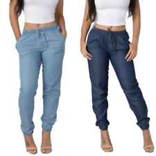 Women High Elastic Waist Trousers Jeans Denim Baggy Loose Long Pants Plus Size