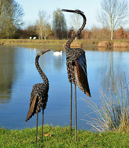 Metal Heron Twisted Garden Ornament Sculpture Art - Handmade Recycled Metal Bird