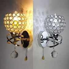 Modern chrome Silver/Gold Crystal LED Wall Light  Sconce Fitting Bedside Lamps
