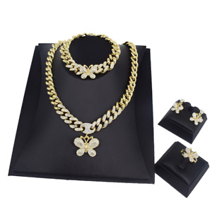 Hugs and Kisses Solitaire Cz Butterfly Cuban Gold Necklace with Bracelet Set #54