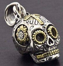 Sterling Silver Biker Day o Dead Mexican Sugar Skull Memento Mori Gothic Pendant