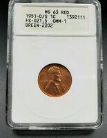 1951 D/S Lincoln Wheat Cent Penny Error ANACS MS63 RD FS-021.5 FS-511 Breen-2202