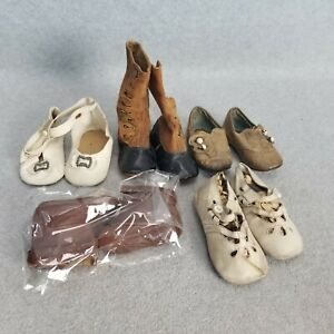 5 pair of old vintage Doll Shoes & Boots for large size antique doll For RESTORE