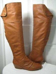 Corso Como Dixie Over The Knee Brown Leather Boots Shoes Women's Size 9 M.