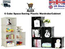 ALIZA 6 Cube Black/White Plastic Foldable Wardrobe Book Shelf Cabinet/Cupboard