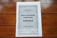 More details for 1968 fascimilie carlisle arrivals & departures railway timetable