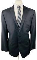 Calvin Klein Mens 42R Black Slim Fit Wool Blazer Sport Coat Suit Jacket