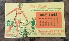 "1948 Great West Life NOS Blotter 6"" X 3.5"