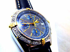 BREITLING CHRONOMAT FOR MEN BLUE B13050.1 GOLD/SS 40MM WITH GENUINE DIAMONDS