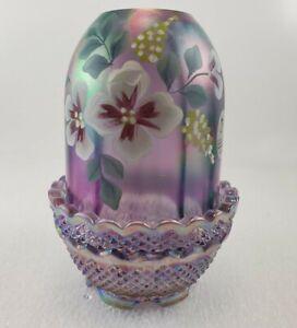 Fenton Purple Iridescent Handpainted Fairy Lamp Signed N.Kelley Original Sticker