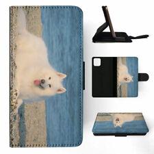 APPLE iPHONE FLIP LEATHER CASE WALLET COVER SAMOYED DOG 4
