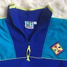Wilson vintage 80s women Xl quarter zip pullover blue turquoise D7 bright colors