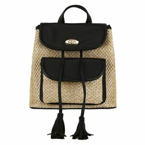 Stylish Straw Drawstring Backpack School Travel Beach Summer Mini Women Handbag