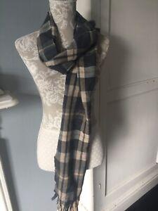 Mens T M Lewin 100% Extra Fine Merino Wool Check Scarf