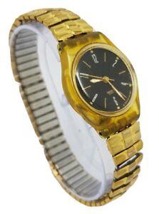Swatch Ladies Quartz Black Dial Gold Tone Expanding Bracelet Watch A5