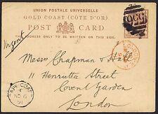 Gold Coast 1891 1 1/2d Postal Stationery Card Cape Coast Castle to London.