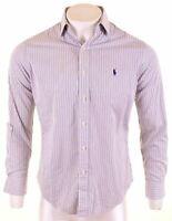 RALPH LAUREN Mens Shirt Size 39 15 1/2 Medium White Striped Cotton Custom Fit