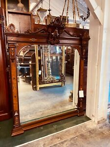 "19th C. Antique Victorian Walnut Wall/Mantle Mirror with 2"" Bevel #3703"