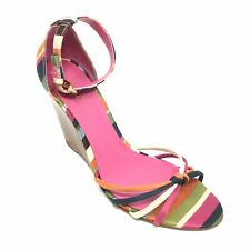 Women's Coach Tabatha Ankle Strap Wedge Sandals Shoe Size 9 B Striped Buckle P15