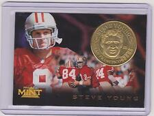 1996 PINNACLE MINT STEVE YOUNG BRASS COIN & CARD #6 ~ SAN FRANCISCO 49ERS ~ QNTY