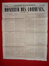JOURNAL LE MONITEUR DES COMMUNES MINISTERE DE L'INTERIEUR N°13 - 28 MARS 1861