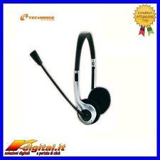 CUFFIE MHS-111 CON MICROFONO TECHMADE CONTROLLO VOLUME STEREO MP3 PC CD MP4
