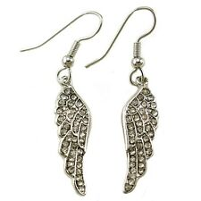 White Feather Angel Wing Dangle Earring Silver Tone Clear Stones Fashion Jewelry