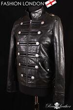 Men's MILITARY Leather Jacket Studded Black Glazed Cowhide Parade Rock Band Coat