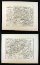 1855 Alison Military 2 Maps Napoleon Battle of Hohenlinden 1800 Germany Munich