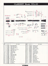 1980 YAMAHA MUSICAL INSTRUMENT PARTS LIST ad sheet - CLARINET model YCL-85