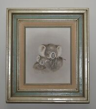 "PEGGY HARRIS Original Oil Painting  ""Nap Sack"" 1983 Kwala Bears & Bamboo FRAMED"