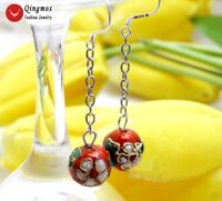 """Trendy 12mm Round Red Cloisonne White Flower 2""""  Hook Earrings for Women-ear697"""