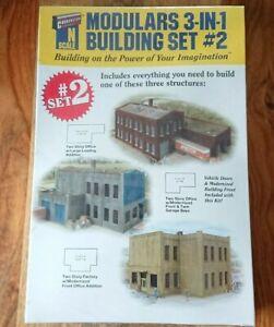 Walthers Cornerstone 933-3297 N Gauge Modulars 3-in-1 Building Set No.2 NEW