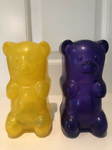 Two Purple and Yellow Gummy Bears Squezable Night Light Lamp Batter Operated