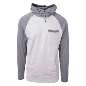Rip Curl Men's Two-Tone Dark Grey Oatmeal L/S Pullover Hoodie (Small)