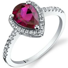 14K White Gold Pear Shape Created Ruby 1.50 ct Halo Ring, Size 7