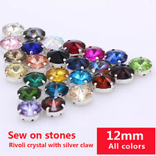 20p 12mm Round faceted crystal glass sew on claw rhinestone Garment Dress button