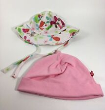 Zutano Baby Toddler Girls Hats 12 Month Sun Hat and 18-24 Month Beanie Pink