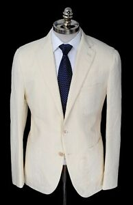 NWT CARUSO Ivory Geometric Wool Unconstructed Notch Lapel Sport Coat 40 (EU 50)