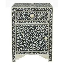Handmade Bone Inlay Bedside Table Home Decor Purpose Attractive Design Crafted I